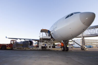 Airplane being loaded with cargo